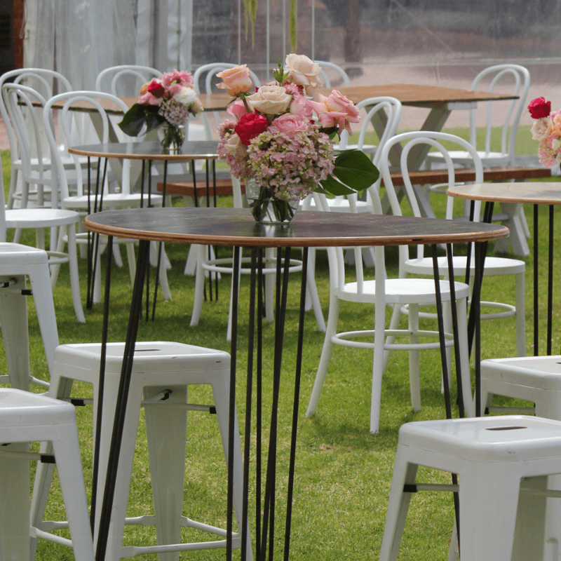 wedding Furniture Hire Adelaide hairpin leg bar tables tolix bar stools flowers