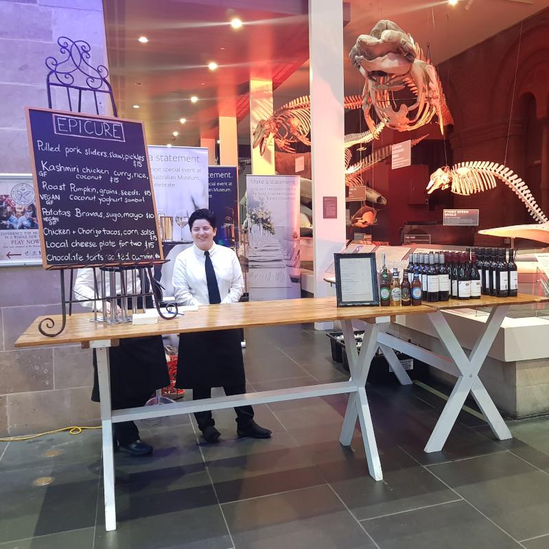 Harvest leg high bar table south Australain Museum