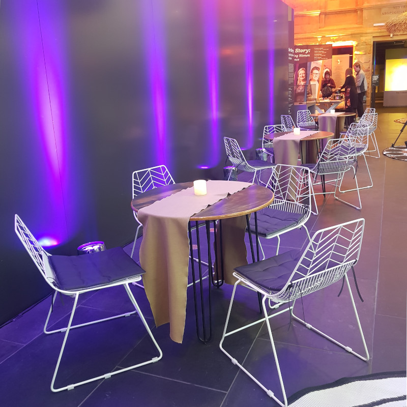 Furniture Hire Adelaide Hairpin leg cafe tables Arrow chairs