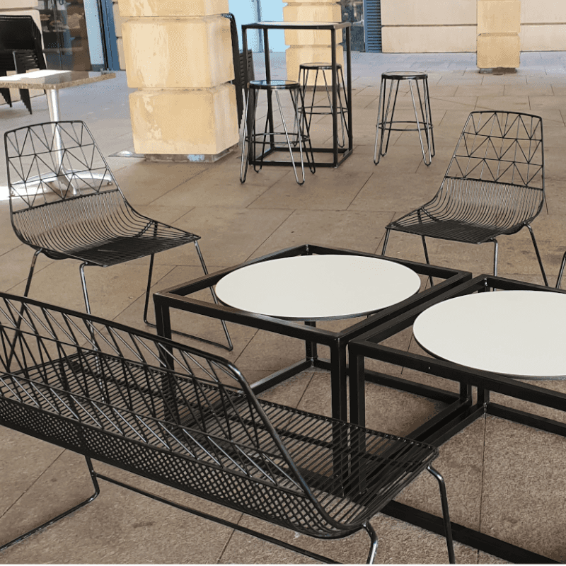 arrow cahirs and bench seat + NGV coffee tables