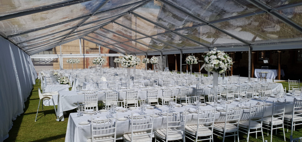 wedding set up with chairs