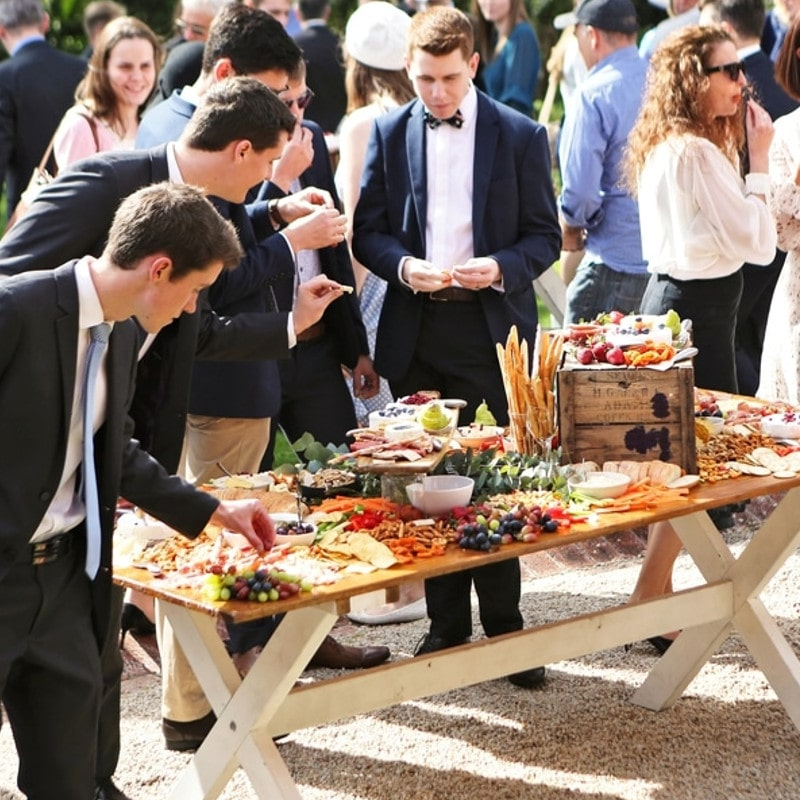 banquet with food at a wedding